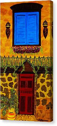 Canvas Print featuring the painting The Red Door by Celeste Manning