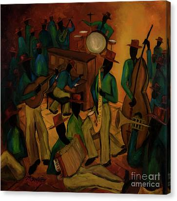 The Red Hat Octet And Friends Canvas Print by Larry Martin