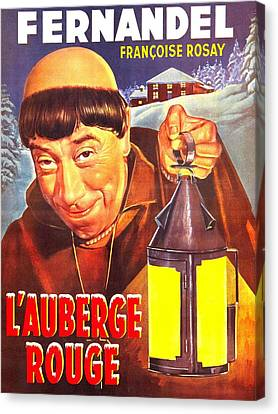 1950s Poster Art Canvas Print - The Red Inn, Aka Lauberge Rouge, French by Everett