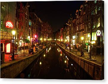 The Red Lights Of Amsterdam Canvas Print by Jonah  Anderson