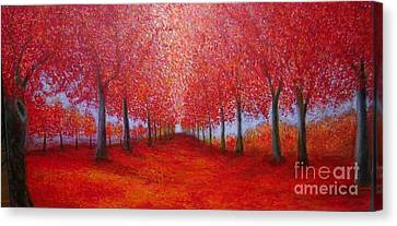The Red Maples Alley Canvas Print by Marie-Line Vasseur