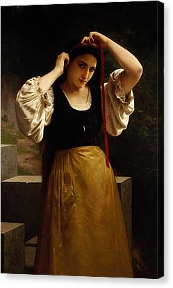 The Red Ribbon Canvas Print by William Adolphe Bouguereau