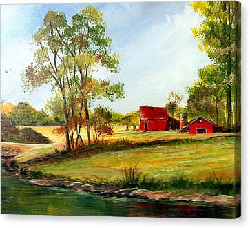 Canvas Print featuring the painting The Red Roof Farm by Dorothy Maier