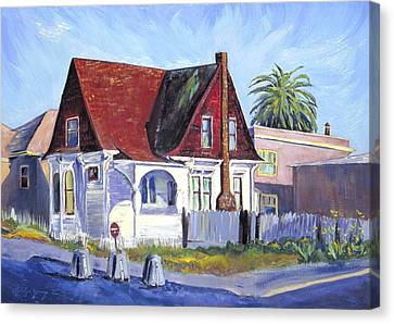 Canvas Print featuring the painting The Red Roof House by Asha Carolyn Young