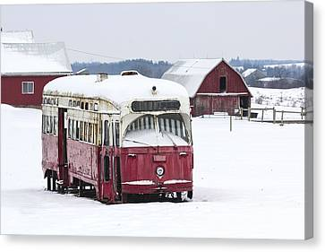 The Red Streetcar Canvas Print by Nick Mares