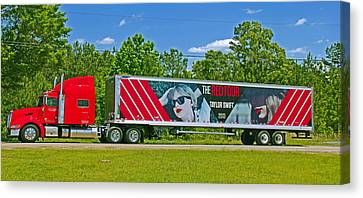 The Red Tour Truck Canvas Print by Andy Lawless
