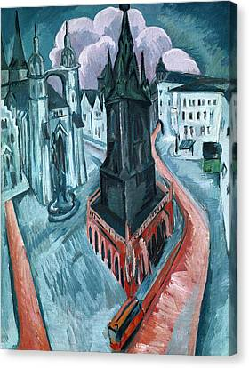 The Red Tower In Halle Canvas Print by Ernst Ludwig Kirchner