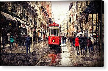 The Red Tram 2 Canvas Print
