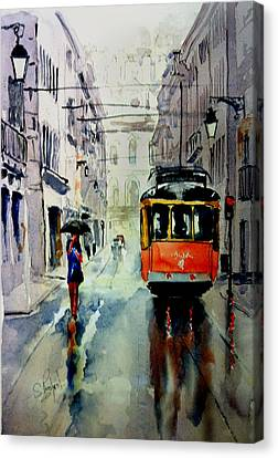 Canvas Print featuring the painting The Red Tram by Steven Ponsford