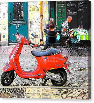 Boulangerie Canvas Print - The Red Vespa In Paris by Jan Matson