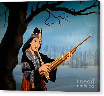 The Reed Piper Canvas Print by Bedros Awak