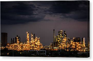 Canvas Print featuring the photograph The Refinery by Mihai Andritoiu
