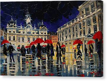 Dates Canvas Print - The Rendezvous Of Terreaux Square In Lyon by Mona Edulesco