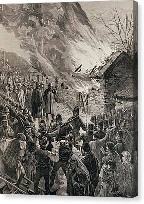 The Rent War In Ireland Burning The Houses Of Evicted Tenants At Glenbeigh, County Derry, From The Canvas Print