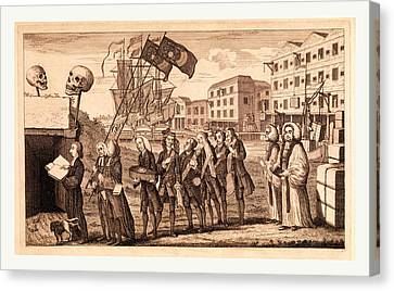The Repeal Or The Funeral Of Miss Ame=stamp Canvas Print
