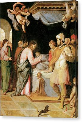 The Resurrection Of Jairus's Daughter Canvas Print by Santi Di tito