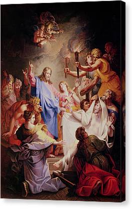 The Resurrection Of Lazarus  Canvas Print by Jean-Baptiste Corneille