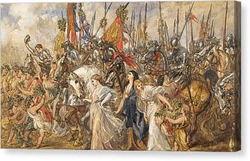 The Return Of The Victors Canvas Print by Sir John Gilbert