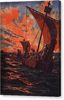The Return Of The Vikings Canvas Print by John Harris Valda