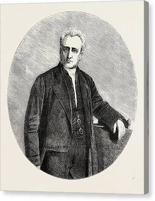 The Rev. William Wood Stamp, President Of The Wesleyan Canvas Print by English School