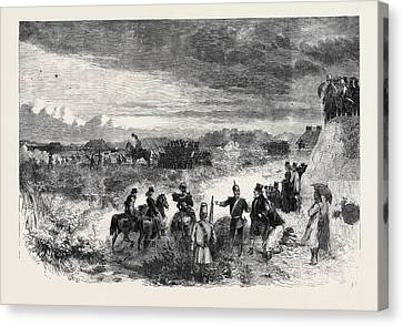 The Review On Saturday Last At Wimbledon Common Skirmishers Canvas Print