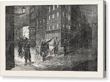 The Revolution In France Troops Clearing The Streets Canvas Print