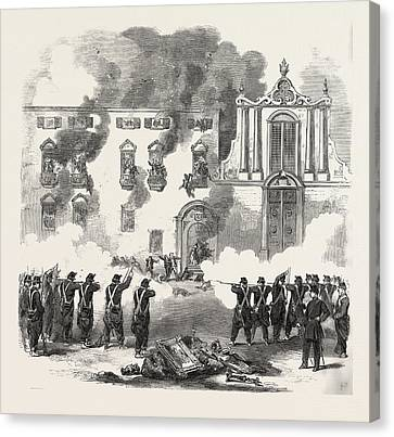 The Revolution In Sicily Massacre Of People By The Royal Canvas Print by Italian School
