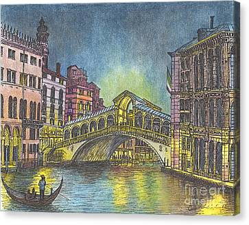 Relections Of Light And The Rialto Bridge An Evening In Venice  Canvas Print