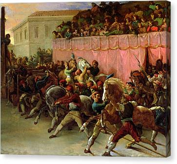 Italian Street Canvas Print - The Riderless Racers At Rome by Theodore Gericault