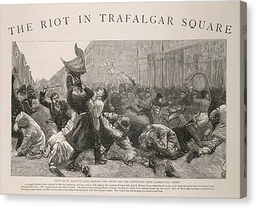 Law Enforcement Canvas Print - The Riot In Trafalgar Square by British Library