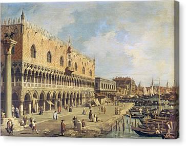 The Riva Degli Schiavoni, Venice Oil On Canvas Canvas Print by Canaletto