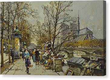 The Rive Gauche Paris With Notre Dame Beyond Canvas Print by Eugene Galien-Laloue