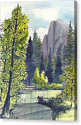 Canvas Print featuring the painting The River At Yosemite by Terry Banderas