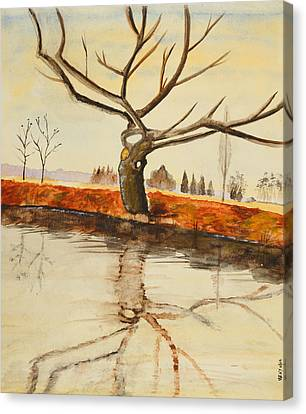 The River In Winter - Painting Canvas Print by Veronica Rickard