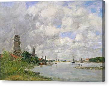 The River Meuse At Dordrecht Canvas Print by Eugene Louis Boudin