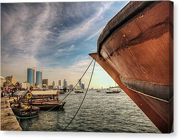 The River Of Dubai Canvas Print by John Swartz