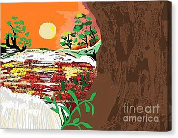 The River Canvas Print by Sherry  Hatcher