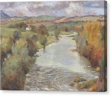 The River Tweed, Roxburghshire, 1995 Canvas Print by Karen Armitage