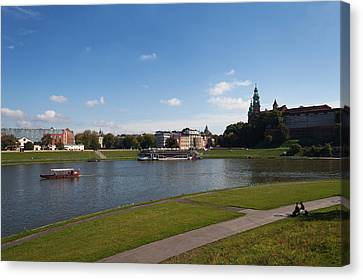 The River Wisla Passing The Distant Canvas Print by Panoramic Images