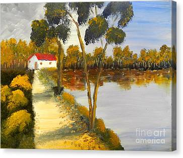 Canvas Print featuring the painting The Riverhouse by Pamela  Meredith