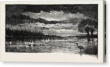 The Rivers Of The Wash A Bit Of Fen Canvas Print by English School