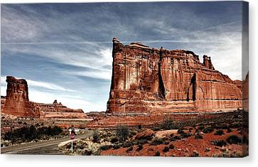 Stop Sign Canvas Print - The Road Through Arches by Benjamin Yeager