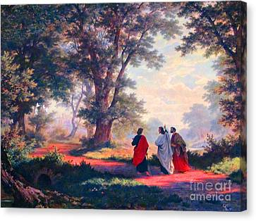 The Road To Emmaus Canvas Print by Tina M Wenger