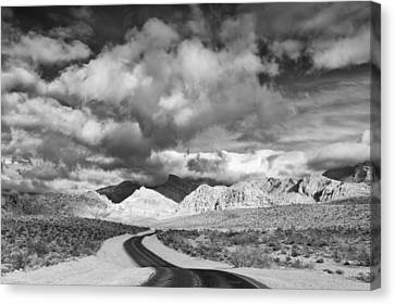 The Road To Turtlehead Peak Las Vegas Strip Nevada Red Rock Canyon Mojave Desert Canvas Print by Silvio Ligutti