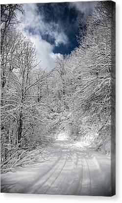 The Road To Winter Wonderland Canvas Print by John Haldane