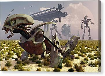 The Robot Rebellion Of Year 2150 Canvas Print by Mark Stevenson