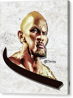 The Rock Caricature By Gbs Canvas Print by Anibal Diaz