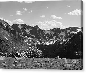 The Rockies Monochrome Canvas Print by Barbara Bardzik