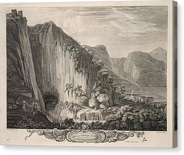 The Rocks & Cavern At Castleton Canvas Print by British Library