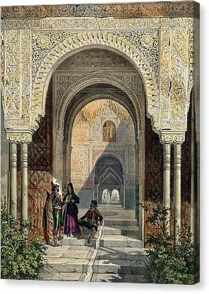 Alhambra Canvas Print - The Room Of The Two Sisters by Leon Auguste Asselineau